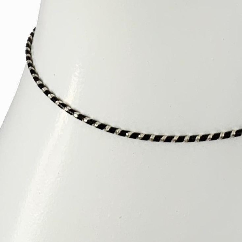 Black & Sterling Slinky Anklet