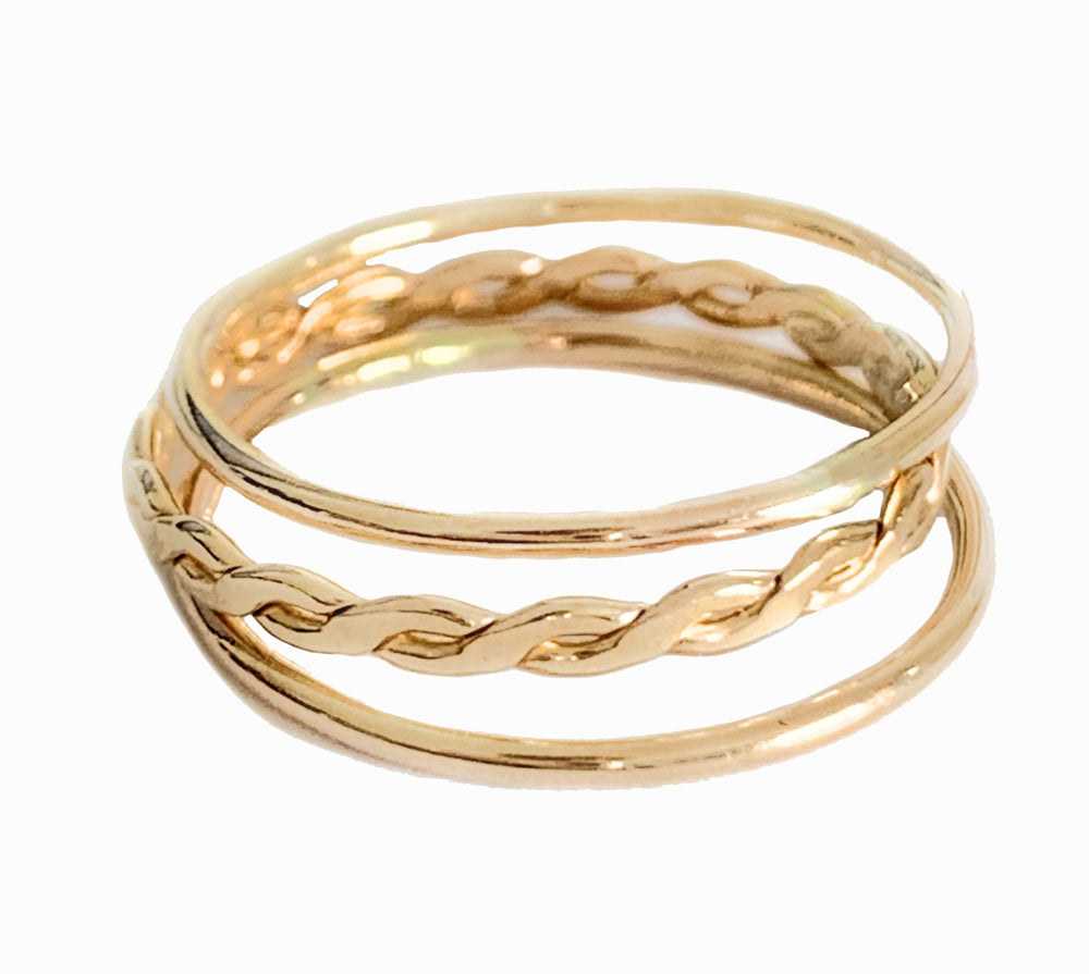 Skinny Band and Braid Stack Toe Rings shown in 14k gold