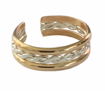 Braid Stack Gold Fill & Sterling Adj Toe Ring