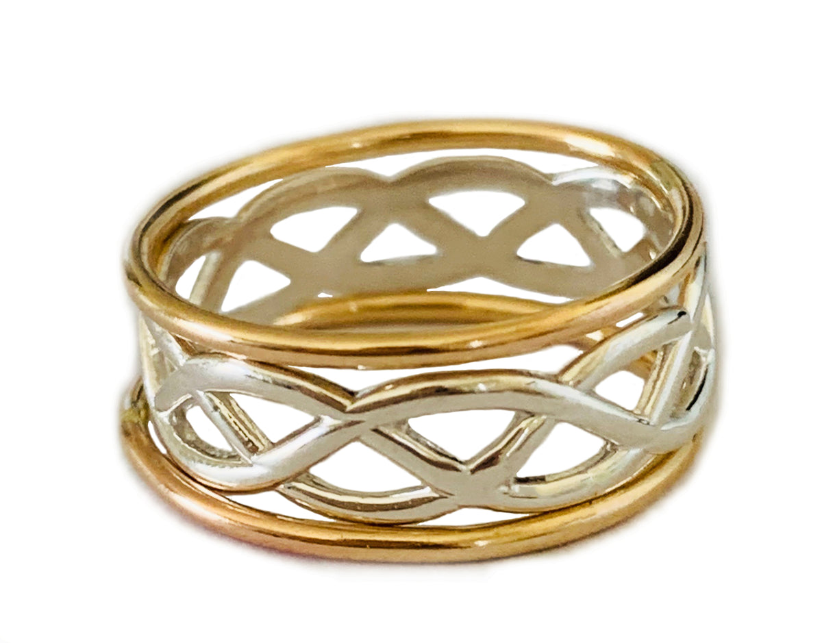 Celtic Weave Stack 14K Gold Toe Rings