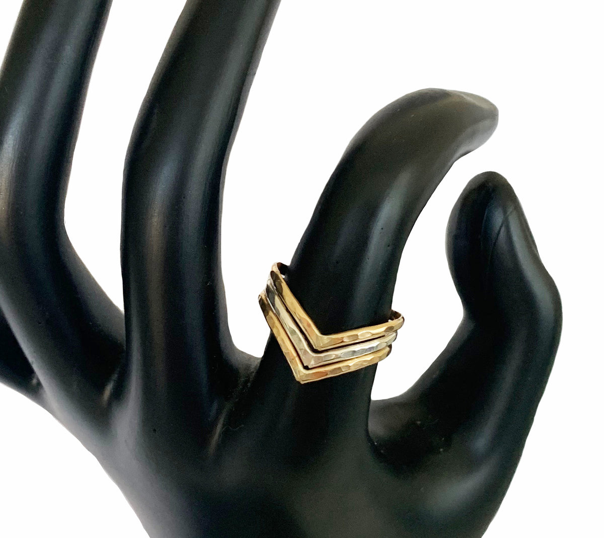 Triple Hammered Chevron Mixed Metal Thumb Ring on Index Finger