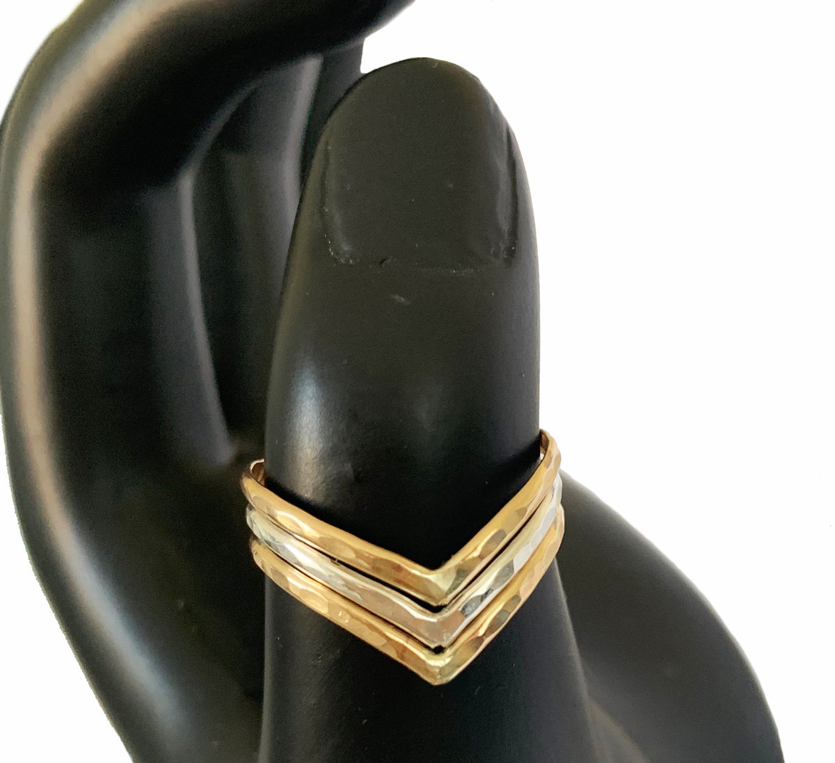 Triple Hammered Chevron Mixed Metal Thumb Ring Shown as Thumb Ring