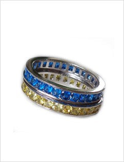 CZ Rainbow Eternity Stack Toe Rings shown in blue and yellow