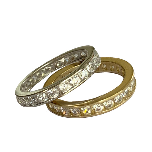 CZ Eternity Band Toe Ring shown in sterling and gold fill
