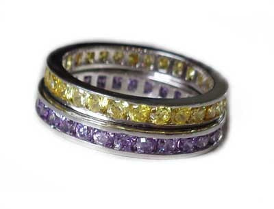 CZ Rainbow Eternity Stack Toe Rings shown in purple and yellow