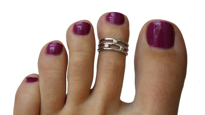 CZ Triple Strand Sterling Adjustable Toe Ring on a model