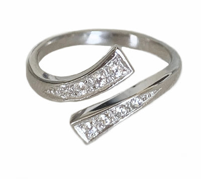 CZ Wrap Around Sterling Adjustable Toe Ring