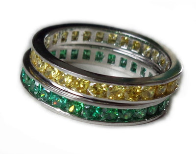 CZ Rainbow Eternity Stack Toe Rings shown in green and yellow