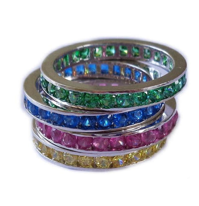 CZ Rainbow Eternity Band Toe Rings shown in pink, yellow, blue and green