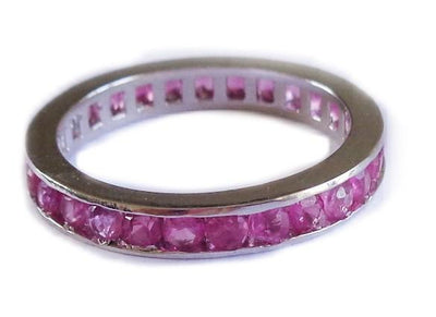 CZ Rainbow Eternity Band Toe Rings shown in pink