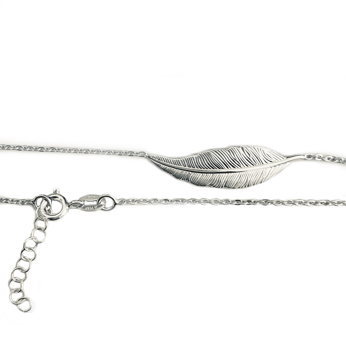Feather Charm Sterling Anklet