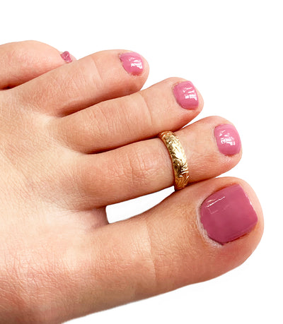 Garden Party Gold Fill Adjustable Toe Ring shown on a foot