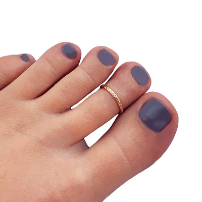 Summer Breeze Gold Fill Adjustable Toe Ring shown on a model's toe