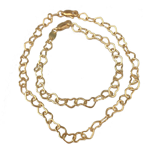 Heart Chain 18k Gold Fill Anklet or Bracelet