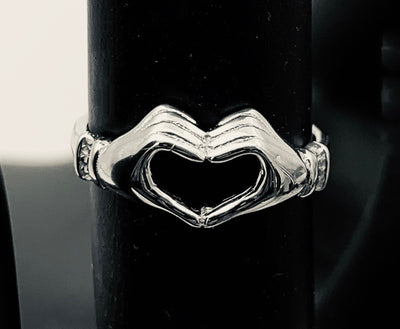 Heart Hands Sterling Adj Toe Ring