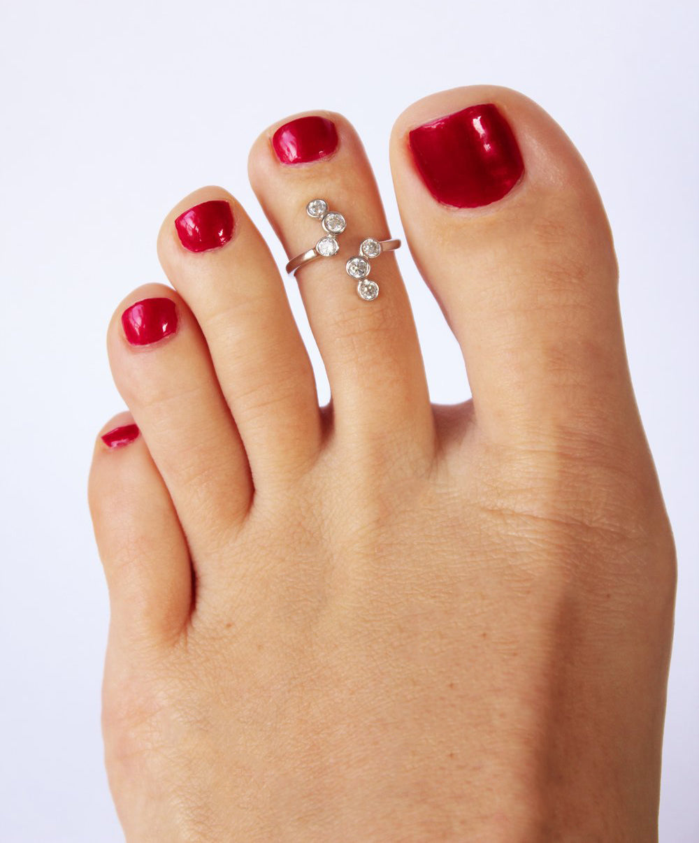 CZ High Seas Sterling Adjustable Toe Ring shown on a foot