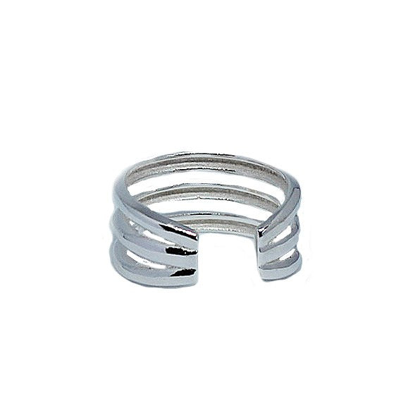 Triple Strand Sterling Adjustable Toe Ring rear view