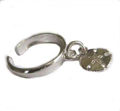 Dangling Sand Dollar Sterling Adjustable Toe Ring