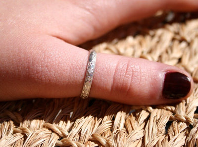 Rococo Sterling Thumb Ring shown on a model