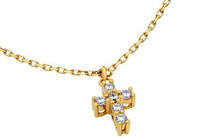 CZ Cross Gold Plated Anklet Close Up