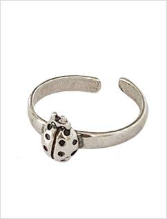 Lady Bug Sterling Adjustable Toe Ring