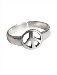 Peace Sign Sterling Adjustable Toe Ring