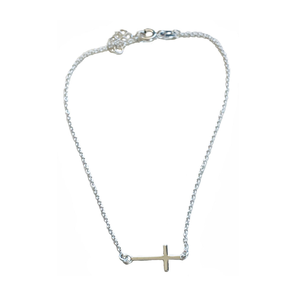 sideways cross anklet in sterling silver