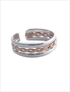 Braid Stack Sterling & Gold Fill Adj Toe Ring