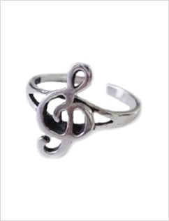 Treble Clef Sterling Adjustable Toe Ring