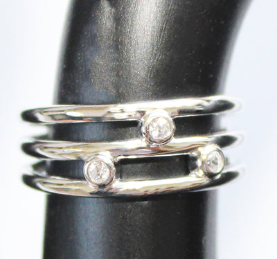 CZ Triple Strand Sterling Adj Toe Ring