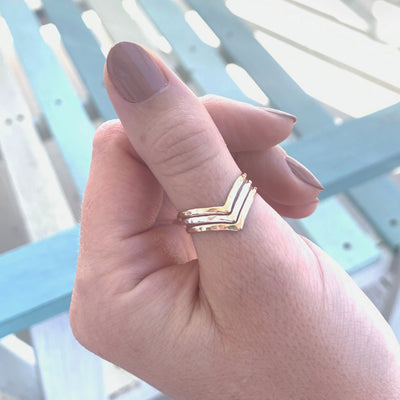 Triple Chevron Mixed Metal Hammered Thumb Ring