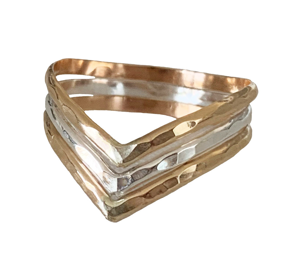 Triple Chevron Mixed Metal Hammered Ring