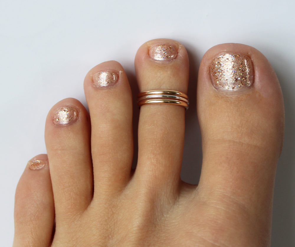 Triple Stack Gold Fill & Sterling & Gold Fill Adj Toe Ring