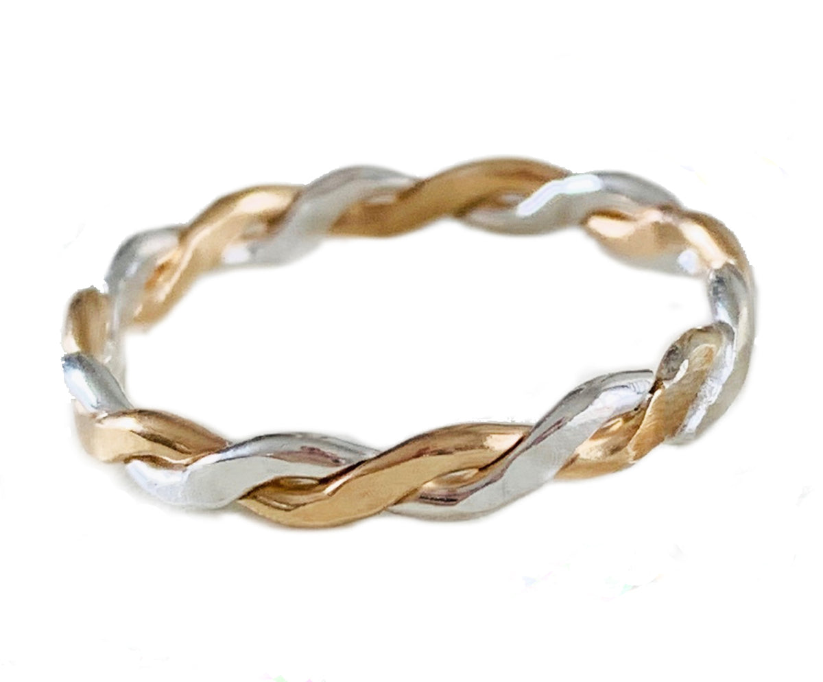Braid Twine Medley Sterling & Gold Fill Thumb Ring