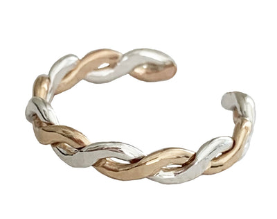 Braid Twine Medley Sterling & Gold Fill Adjustable Toe Ring