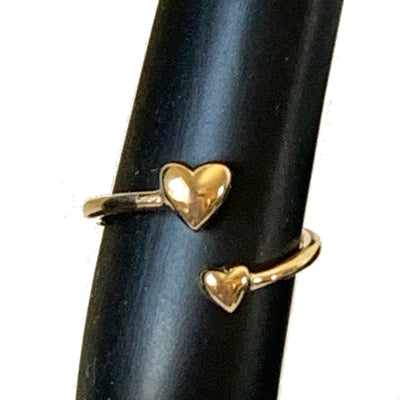 Two Hearts 10k Gold Adj Toe Ring