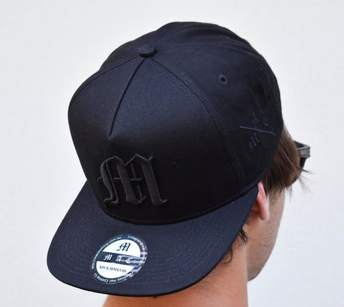 Mac Flat Peak Snapback Hat (Black)