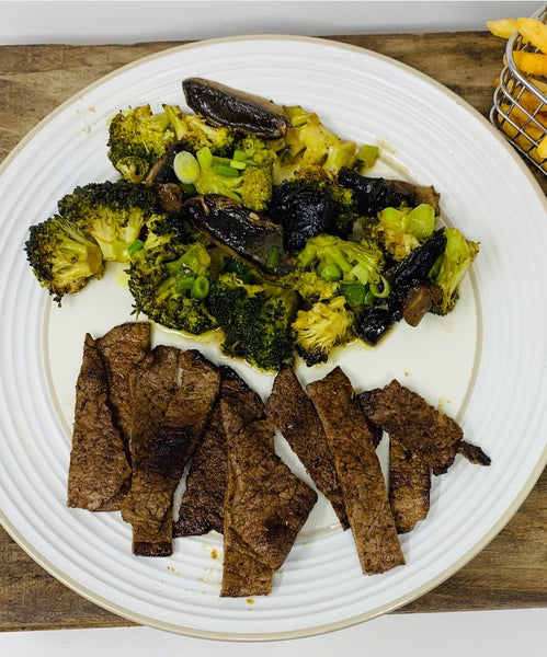 Jerk Sizzle Steak with Roasted Mushrooms and Broccoli