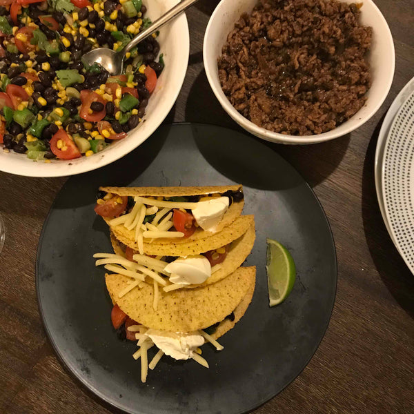 Jerk Tacos with Corn & Black Bean Salsa