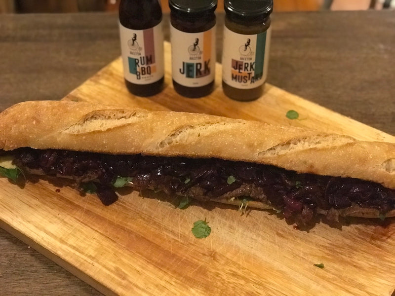 Steak Sub with Rum BBQ Relish