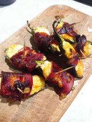 Jalapeno poppers with rum and bbq sauce