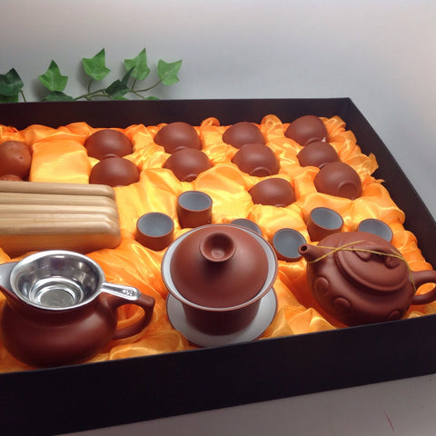 Yixing Tea Set A( 5oz Ruyi Red Zhisha) with tea tray#908