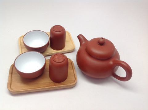 Yixing -5 oz Tea Pot with Tea Tasting Cups and Bamboo Coaster