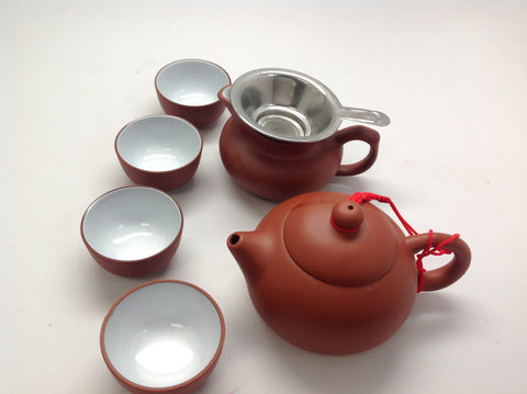 Yixing Tea pot 5oz Set( Red Zhisha) #212 7pcs $48.95