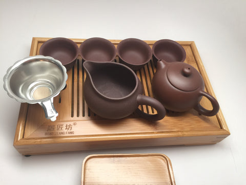 Yixing Tea Set A( 5oz Xishi Zhisha) with tea tray