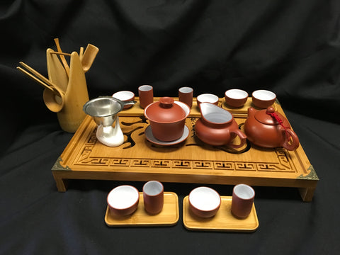 Yixing Tea Set with Dragon Bamboo Tea Tray #166