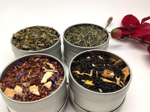 Flavor Tea Sampler( with clear cap on top 4 tins)