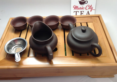 Yixing Tea Set A( 5oz Brown Zhisha) with tea tray$89.95