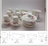 Gaiwan Tea Set( Bird Flower) 15pcs #618