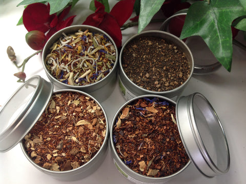 Flavor Tea Sampler( with clear tin on top 4 tins) Indian Tea